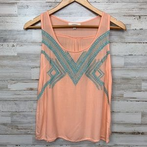 Umgee Embroidered Tank Top Small peach and blue